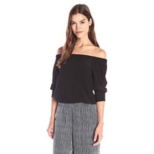 Theory Joscla Mosaic Off-The-Shoulder Silk Top